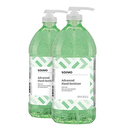 Amazon Brand - Solimo Advanced Hand Sanitizer with Aloe and Vitamin E, 2 Liters (Pack of 2)
