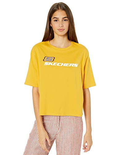 Skechers Women's OG Cropped Logo Tee, Mineral Yellow, M