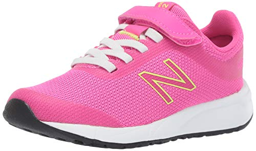 New Balance Girls' 455v2 Running Shoe, PEONY/BLEACHED LIME GLO, 6 W US Big Kid