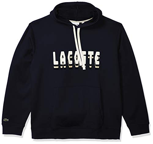 Lacoste Mens Long Sleeve Fleece 3D Sweater Sweatshirt, Navy Blue, M