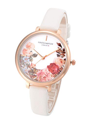 Top Plaza Womens Ladies Fashion White Leather Analog Quartz Watch Casual Elegant Rose Gold Case Flower Wrist Watch