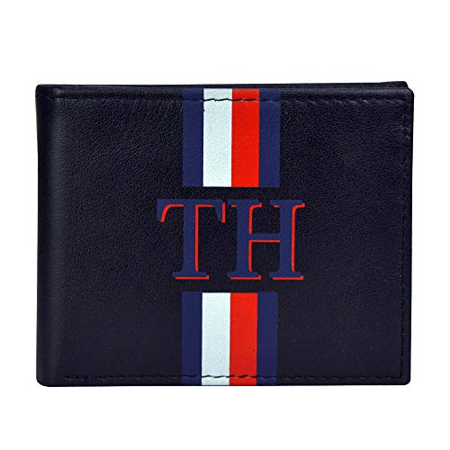 Tommy Hilfiger Men's Leather Wallet-Bifold with RFID Blocking Protection, Black Lines, One Size