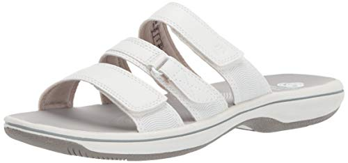 Clarks Women's Brinkley Coast Slide Sandal, white synthetic, 5 M US