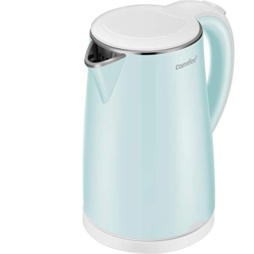 COMFEE' MK-HJ1705a1G Electric Kettle Teapot 1.7 Liter Fast Water Heater Boiler 1500W BPA-Free, Quiet Boil & Cool Touch Series, Auto Shut-Off and Boil Dry Protection, 1.7L, Mint Green