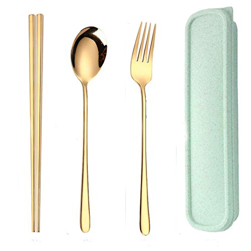 AINAAN 3 PCS Stainless Steel Travel Camping Flatware Set Portable Fork Spoon Chopsticks with Case, 2019, Gold