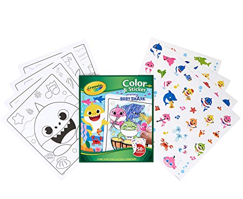 Crayola Baby Shark Coloring Pages & Stickers, Gift for Kids, Ages 3, 4, 5, 6