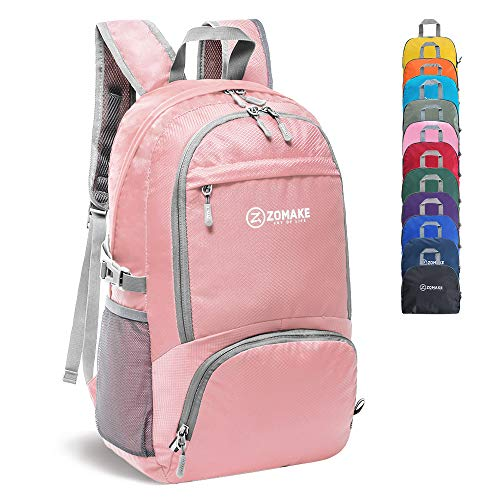 ZOMAKE 30L Lightweight Packable Backpack Water Resistant Hiking Daypack,Small Travel Backpack Foldable Camping Outdoor Bag(Coral)