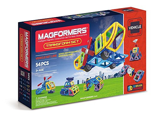 Magformers Vehicle Transform Set (54-Pieces) Magnetic    Building      Blocks, Educational  Magnetic    Tiles Kit , Magnetic    Construction  STEM Set Includes Wheels
