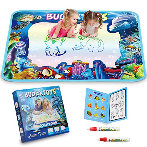 [LATEST 2020] Aqua Magic Doodle Mat 40 X 28 Inches Extra Large, USA Patented Design, Water Drawing Doodling Mat Coloring Mat Educational Toys Gifts for Kids Toddlers Boys Girls Age 2 3 4 5 6 7 8