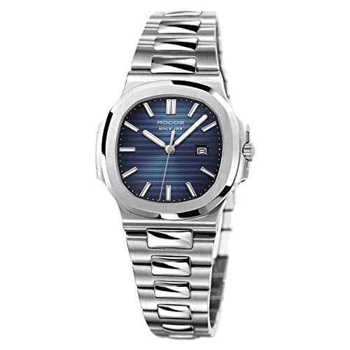 Women's Wrist Watch ROCOS Japanese Quartz Watch with Blue Dial Square Watch for Women Ladies Crystal Analog Watches Luxury Classic Elegant Gift #R0139L