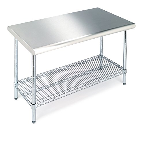 "Seville Classics Commercial-Grade NSF Top Work Table, 49"" W x 24"" D x 35.5"" H, Stainless Steel"