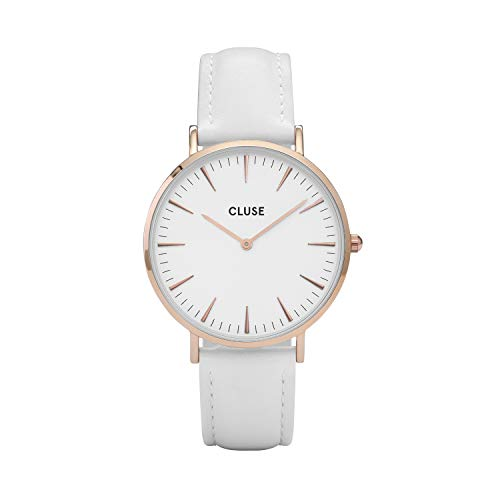 CLUSE La Boh�me Rose Gold White White CL18042 Women's Watch 38mm Leather Strap Minimalistic Design Casual Dress Japanese Quartz Elegant Timepiece