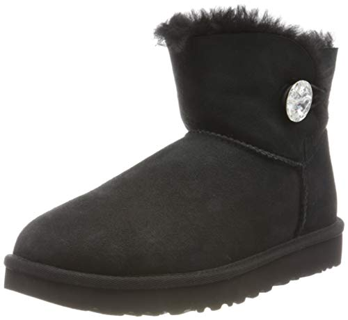 UGG Women's Mini Bailey Button Bling Winter Boot, Black, 5 B US