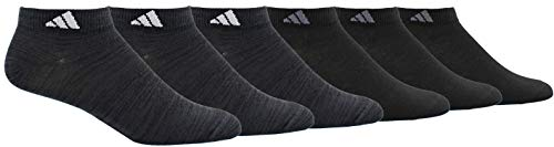 adidas Men's Superlite Low Cut Socks (6-Pair), Black - Night Grey Space Dye/White Black/Onix, Large, (Shoe Size 6-12)