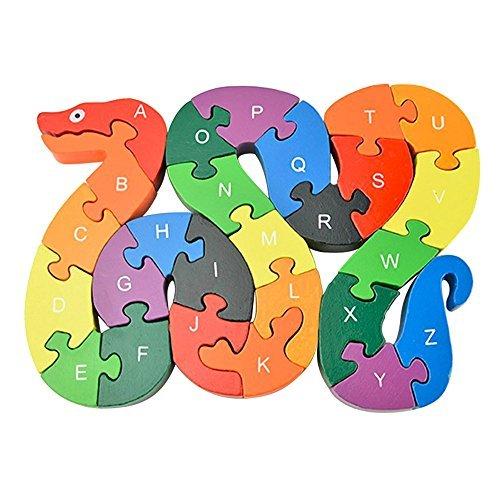 Animal Wooden Puzzle, Building Blocks Puzzles Alphabet Jigsaw Puzzle Preschool Learning Educational Toy Blocks Set Gifts - Snake & Elephant