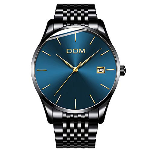 Men's Luxury Watches Ultra Thin Wrist Watch for Men Fashion Waterproof Analog Date Watch with Stainless Steel Band (Blue)