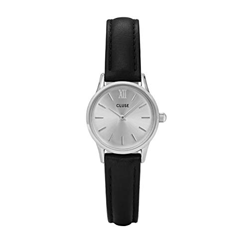 Cluse Women's La Vedette 24mm Black Leather Band Metal Case Quartz Silver-Tone Dial Analog Watch CL50014
