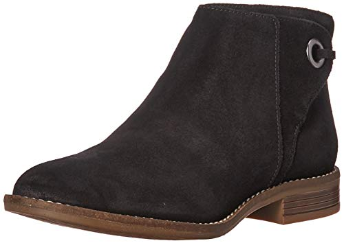 Clarks Women's Camzin Bow Ankle Boot, Black Suede, 55 M US