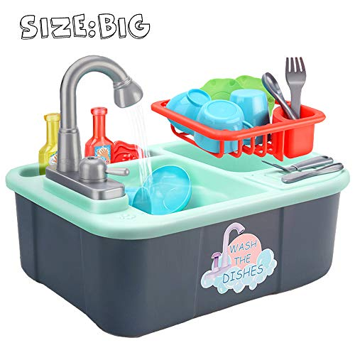 Wowok Play Kitchen Sink Toys, Dishwasher Playing Toy with Running Water, Automatic Faucets, Tableware and Detachable Water Rack Play House Pretend Role Play Toys for Boys Girls