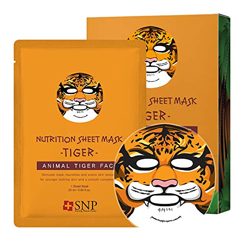 SNP - Animal Tiger Wrinkle Korean Face Sheet Mask - 10 Sheet Pack - Best Gift Idea for Mom, Girlfriend, Wife, Her