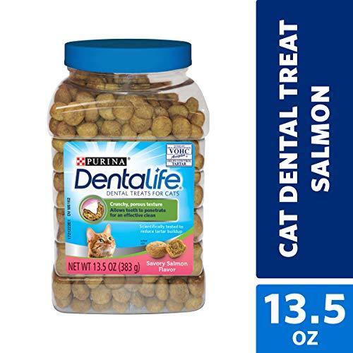 Purina DentaLife Made in USA Facilities Cat Dental Treats, Savory Salmon Flavor - 13.5 oz. Canister