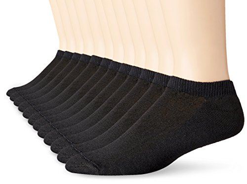 Hanes Men's FreshIQ No-Show Socks, 12 Pack, Black, Shoe Size: 6-12