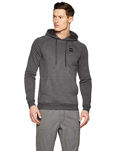Under Armour Men's Rival Fleece Pullover Hoodie, Grey(Charcoal Light Heath/Black), Medium