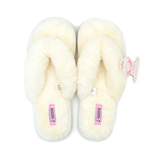 Millffy Spring Summer Women's Indoor Shoes Fashion Flax Home Lucy Refers to flip Flops Fur Slippers (9-10 M US, Beige)