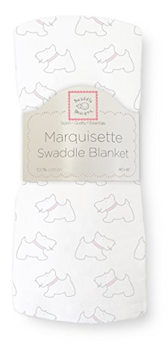 SwaddleDesigns Marquisette Swaddling Blanket, Premium Cotton Muslin, Pastel Pink Little Doggie