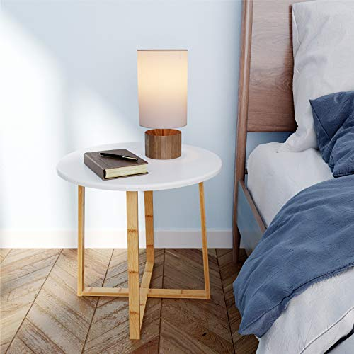 BAMEOS Side Table Modern Nightstand Round Side End Accent Coffee Table for Living Room Bedroom Balcony Family and Office (19.7inx18.7in)