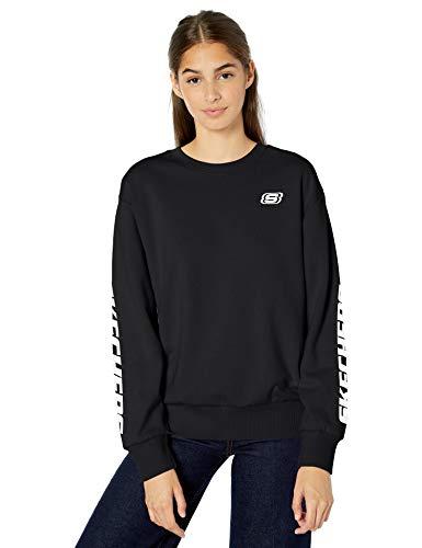 Skechers Women's Heritage Crewneck Logo Sweatshirt, Bold Black, M