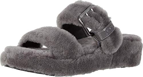 UGG Women's Fuzz Yeah Wedge Sandal, Charcoal, 5 M US